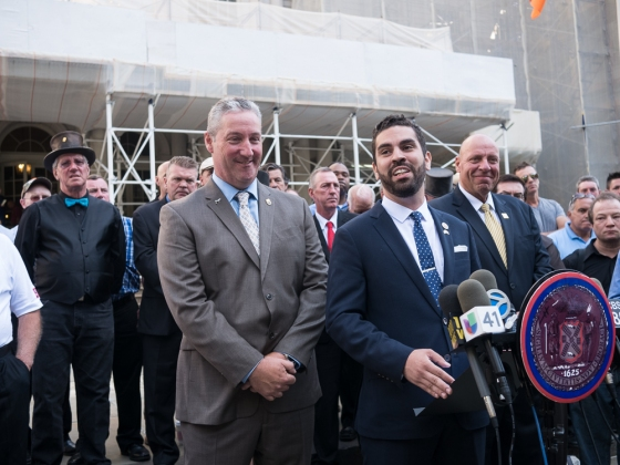 Stephen Malone, Spokesperson for Carriage Horses Industry, Councilman Espinal and Demos P. Demopoulos, Sec/Treas for the Teamsters, Local 553