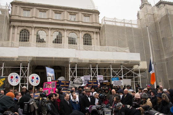 Hundreds Rally in support of the Carriage Horses of Central Park on the steps of City Hall